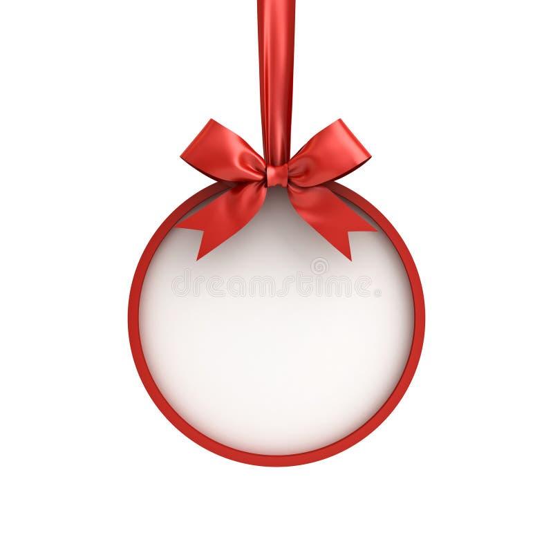 Struttura della palla di Natale che appendono con il nastro rosso ed arco isolato su fondo bianco illustrazione vettoriale