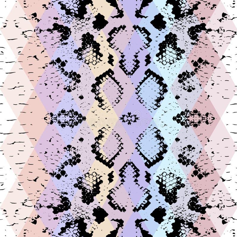 Struttura della pelle di serpente con il rombo colorato Priorità bassa geometrica Il fondo rosa blu porpora del nero senza cucitu illustrazione di stock