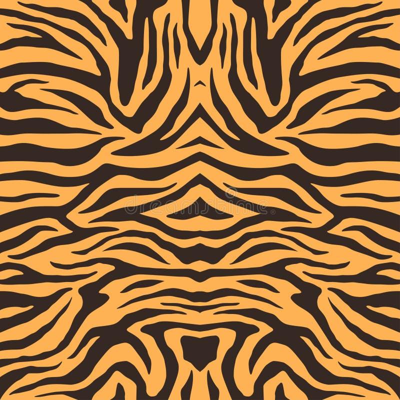 Struttura della pelliccia della tigre di Bengala, modello arancio delle bande Stampa della pelle animale Fondo di safari Vettore illustrazione di stock