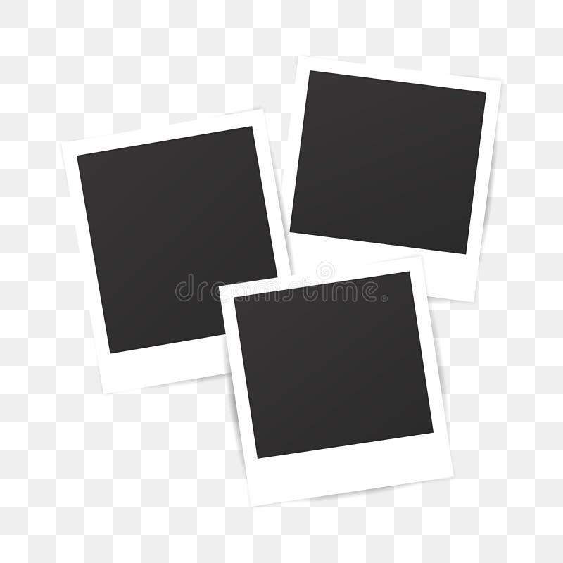 Struttura della polaroid della foto dell'insieme in bianco su fondo trasparente illustrazione vettoriale