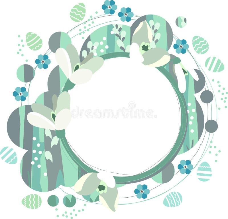 Struttura della primavera con i bucaneve bianchi illustrazione vettoriale