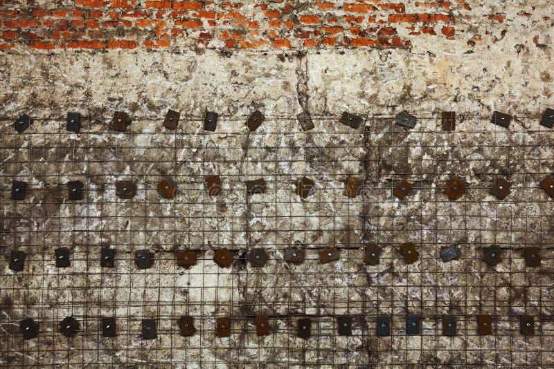 Struttura della priorità bassa di Grunge Sottragga la progettazione degli elementi del calcestruzzo, del mattone e del metallo fotografie stock