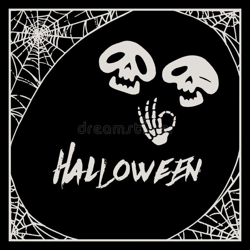 Struttura della ragnatela di Halloween e due scheletri del fumetto illustrazione vettoriale