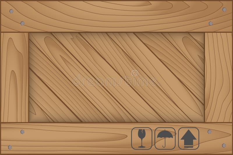 Struttura della scatola di legno e del simbolo fragile illustrazione vettoriale