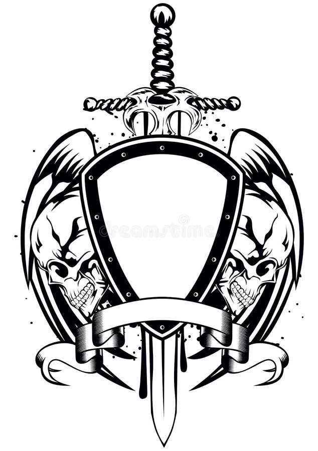 Struttura della spada dei crani illustrazione di stock