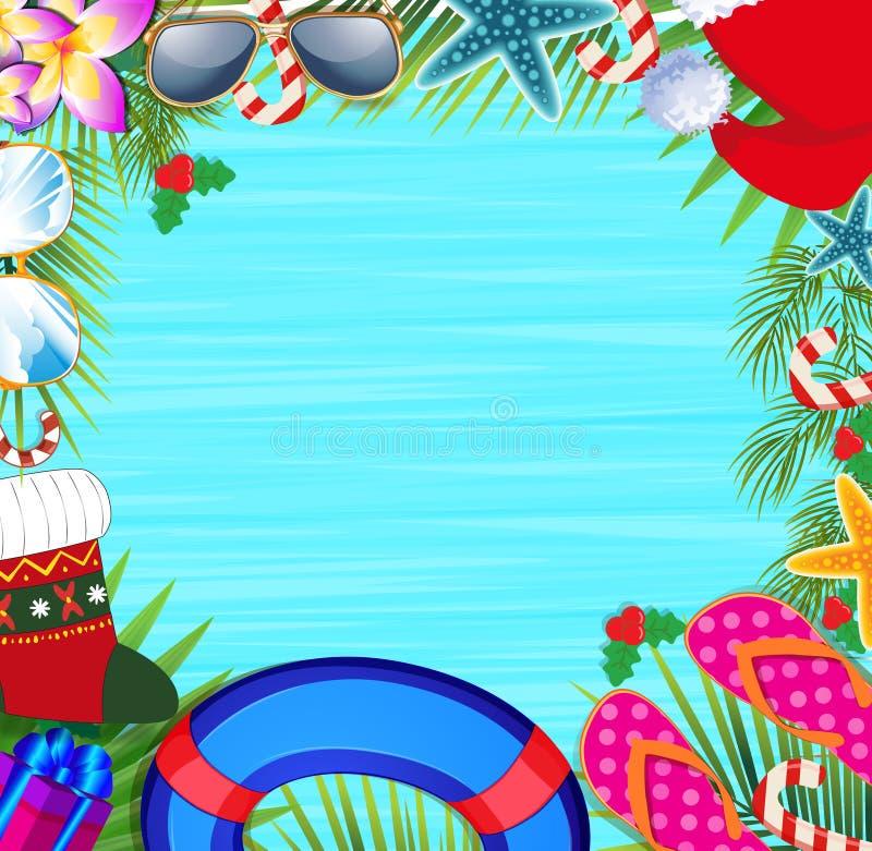 Struttura della spiaggia di Natale con lo spazio della copia illustrazione di stock