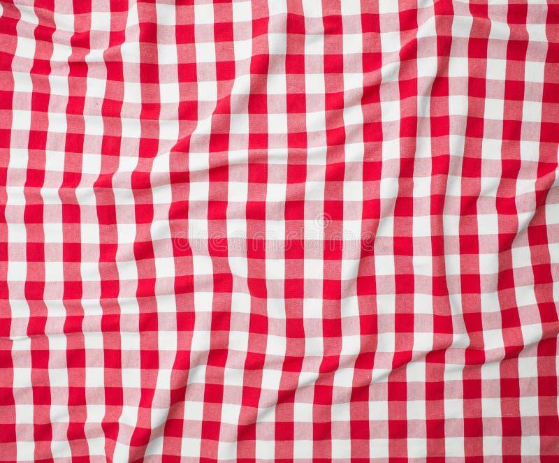 Struttura della tovaglia sgualcita tela rossa fotografia stock libera da diritti