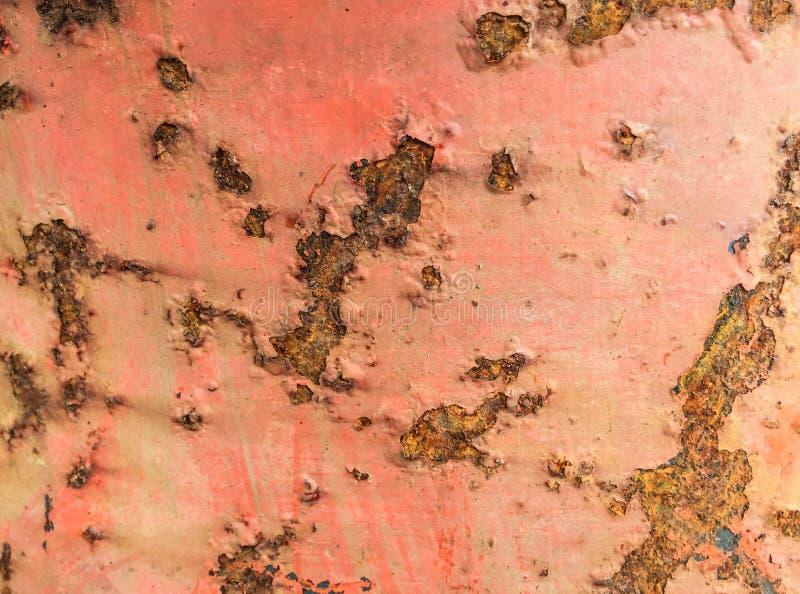 Struttura della traccia di ruggine sul ferro rosso fotografie stock