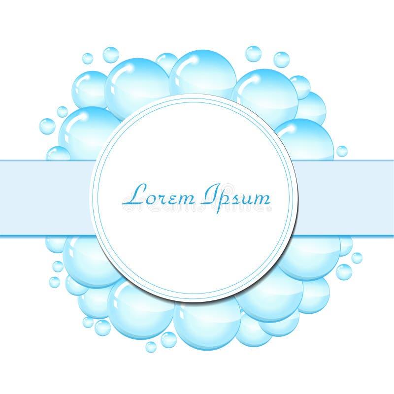 Struttura delle bolle di sapone per testo Modello in bianco per testo con le bolle di sapone, goccioline di acqua Illustrazione d illustrazione di stock