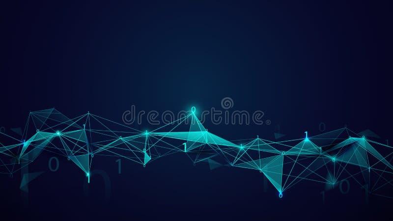 Struttura delle molecole e tecnologia di codice binario su fondo blu scuro L'estratto collega le linee ed i punti royalty illustrazione gratis
