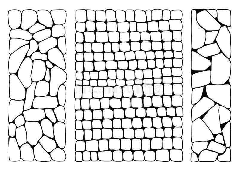 Struttura delle pietre parete dal vettore fissato mattoni passeggiata di pietra pavimentata illustrazione di stock