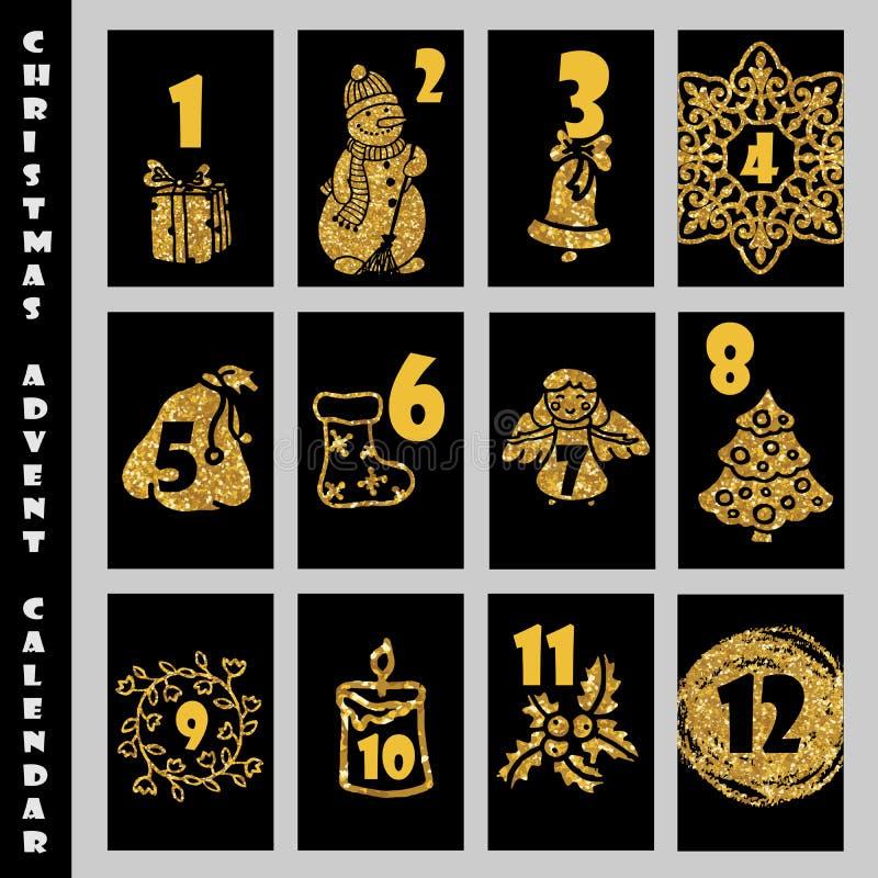 Struttura di Advent Calendar With Gold Glitter di Natale conto alla rovescia di natale a illustrazione vettoriale
