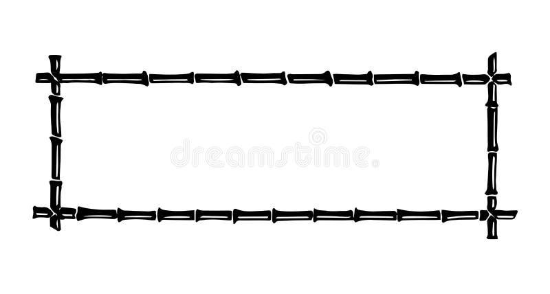 Struttura di bambù del bastone dell'inchiostro nero disegnato a mano per il vostro testo isolato su fondo bianco illustrazione di stock