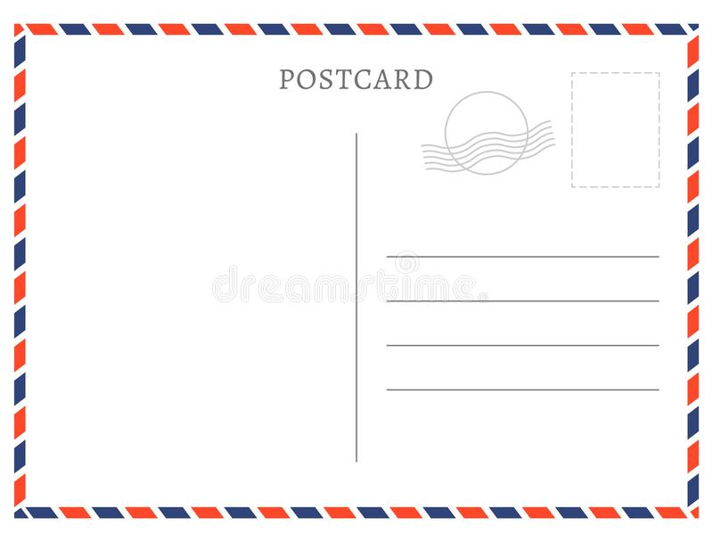 Struttura di bianco della carta del modello della cartolina Francobollo della cartolina di vettore e progettazione di messaggio v illustrazione vettoriale
