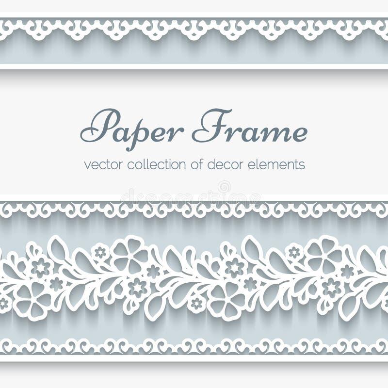 Struttura di carta con i confini ornamentali illustrazione di stock