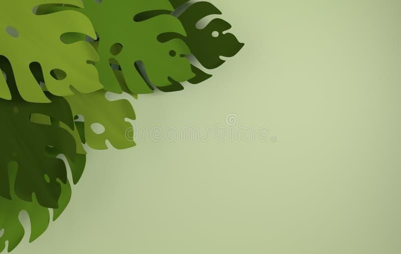 Struttura di carta tropicale delle foglie di palma Foglia verde tropicale di estate Fogliame hawaiano esotico della giungla di or royalty illustrazione gratis