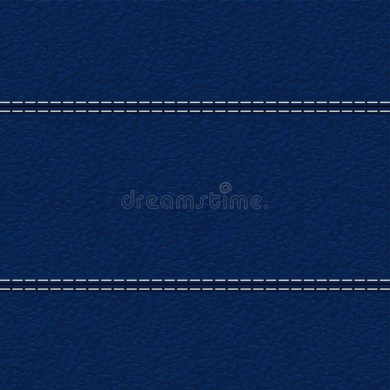 Struttura di cuoio blu con la cucitura bianca illustrazione di stock