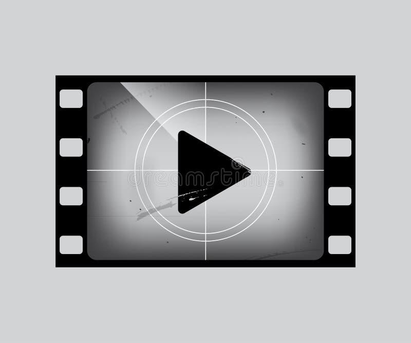 Struttura di film con il simbol del gioco su grey Parte della striscia di pellicola di lerciume di vettore illustrazione vettoriale