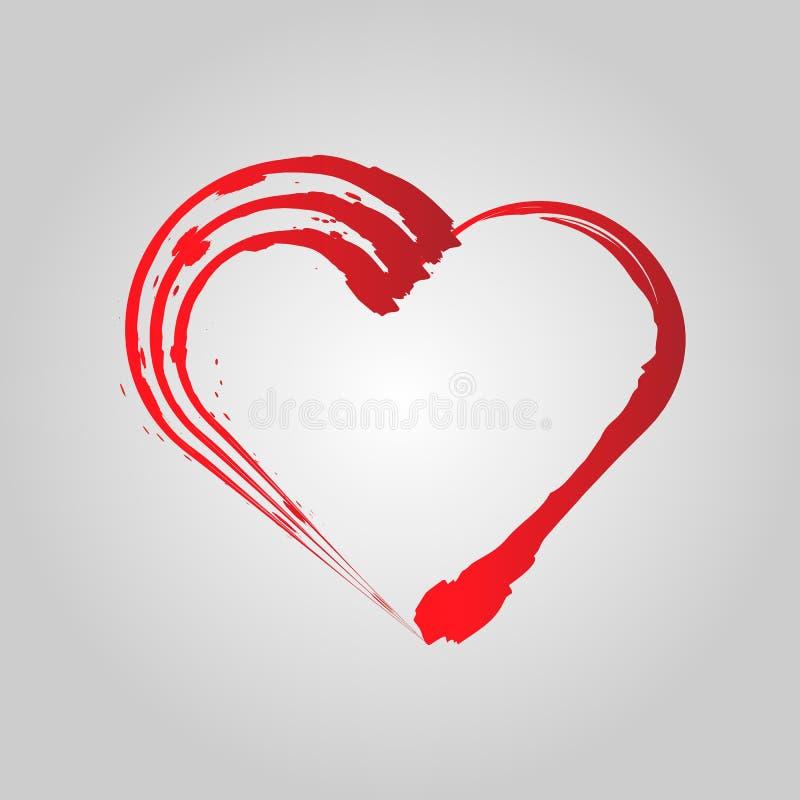 Struttura di forma del cuore di lerciume di vettore con la pittura della spazzola isolata su fondo grigio illustrazione vettoriale