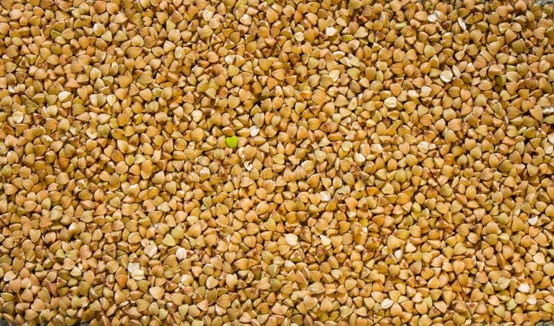 Struttura di grano saraceno verde crudo con un grano verde in forma di cuore nel centro immagini stock