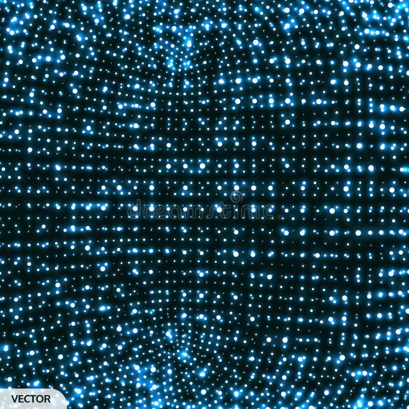 Struttura di grata Fondo di tecnologia o di scienza astratta Disegno grafico Illustrazione della rete con la particella superfici royalty illustrazione gratis