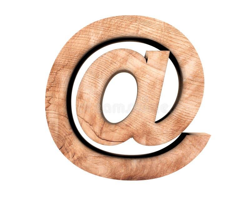Struttura di legno di alfabeto alla lettera del segno del segno del email illustrazione della rappresentazione 3d immagine stock