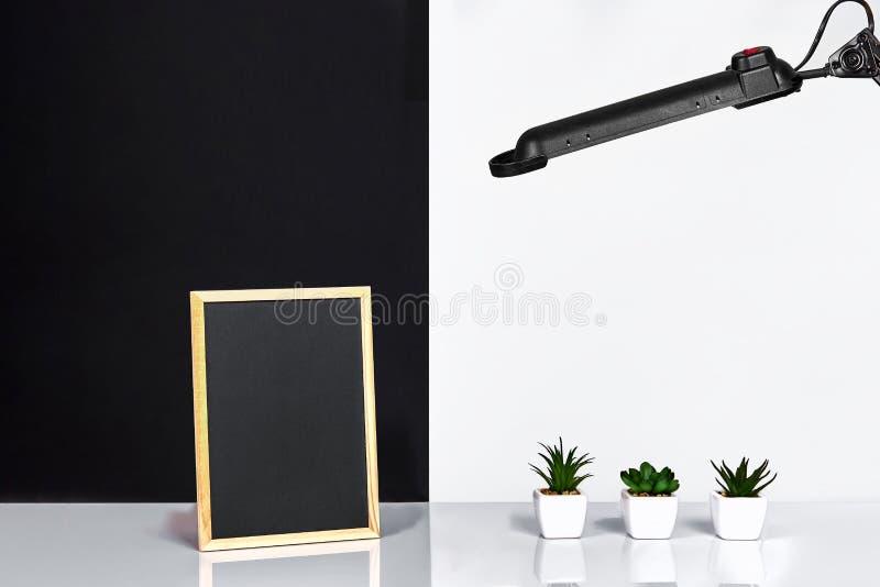 Struttura di legno con il posto nero per testo Derisione su Interno alla moda della stanza Pianta verde in un vaso bianco sulla p fotografia stock