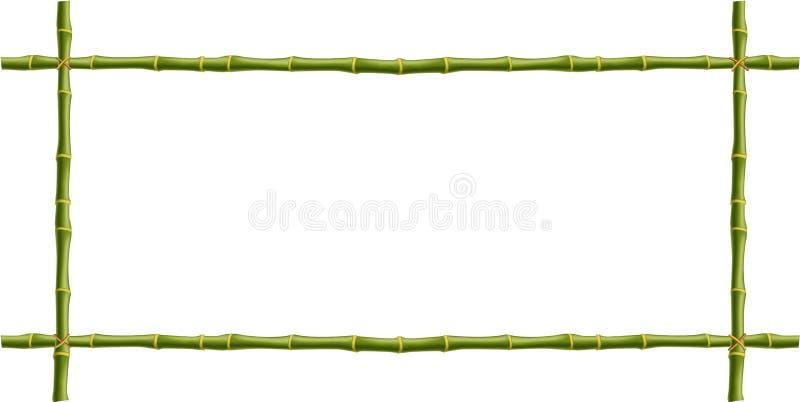 Struttura di legno dei bastoni di bambù verdi con spazio per testo illustrazione di stock