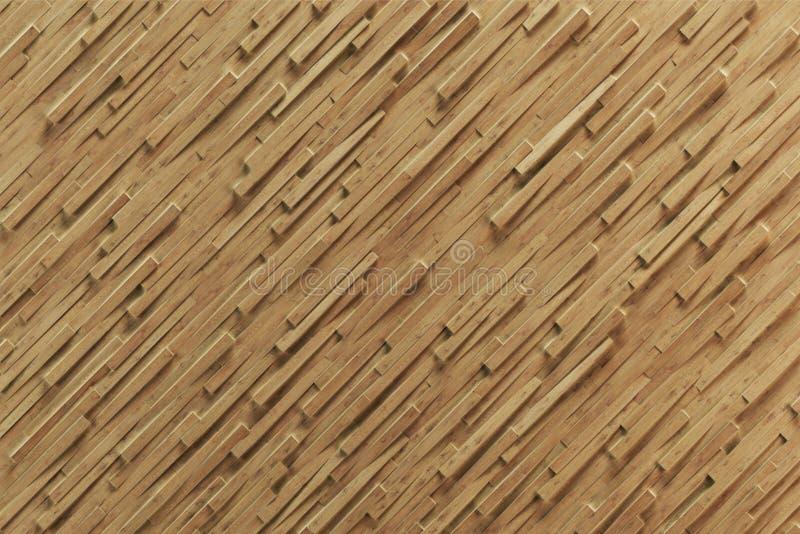 Struttura di legno del fondo dell'estratto 3d con l'orizzontale r di sporgenza illustrazione vettoriale