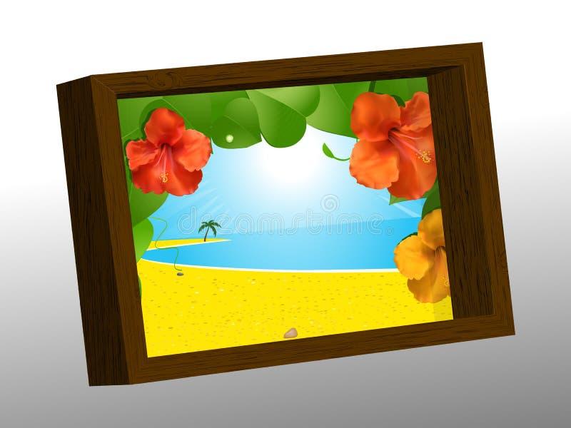 Struttura di legno della foto con l'immagine di estate royalty illustrazione gratis