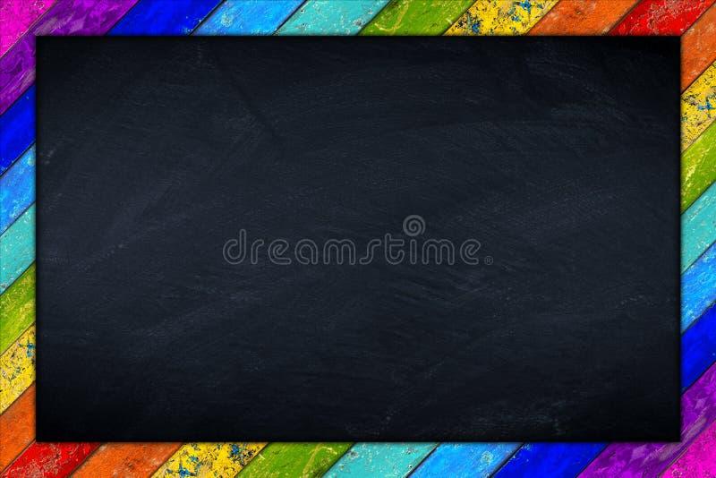 Struttura di legno della lavagna dell'arcobaleno immagine stock libera da diritti