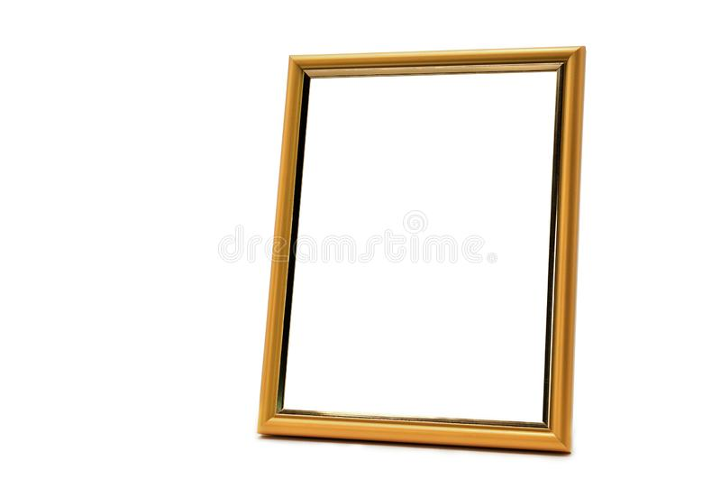 Struttura di legno e dorata antica della foto su un backg bianco isolato immagini stock libere da diritti