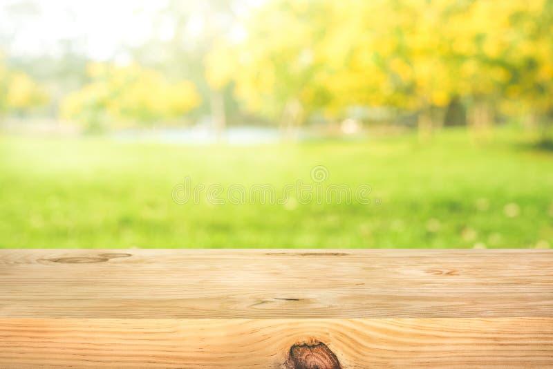 Struttura di legno reale del piano d'appoggio sul fondo del giardino dell'albero della foglia immagine stock libera da diritti