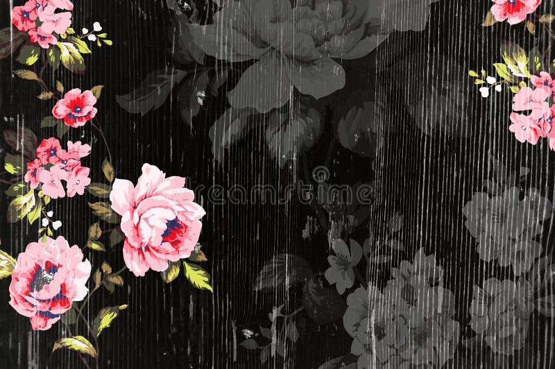 Struttura di legno sbucciata con le rose d'annata eleganti misere illustrazione di stock