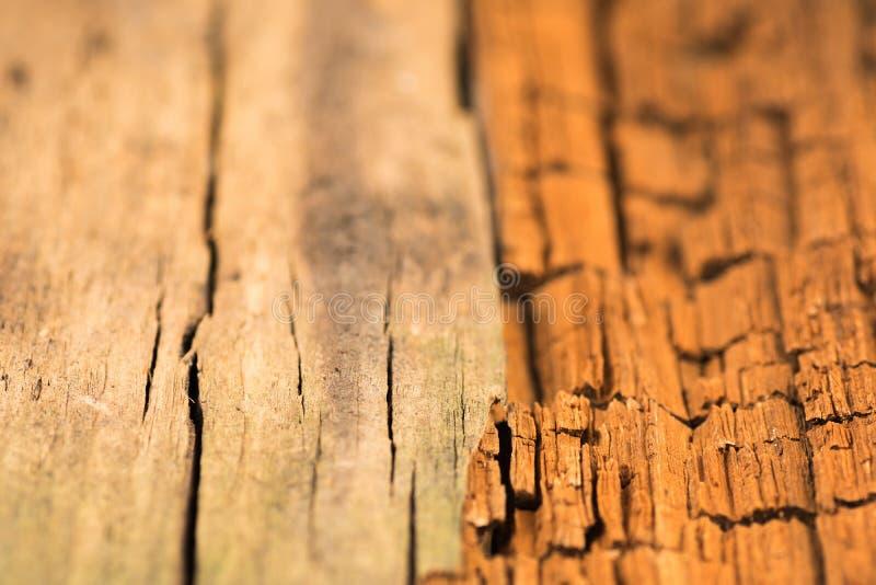 Struttura di legno, scrittorio nella fine di prospettiva su, legname a strisce, vecchio immagine stock