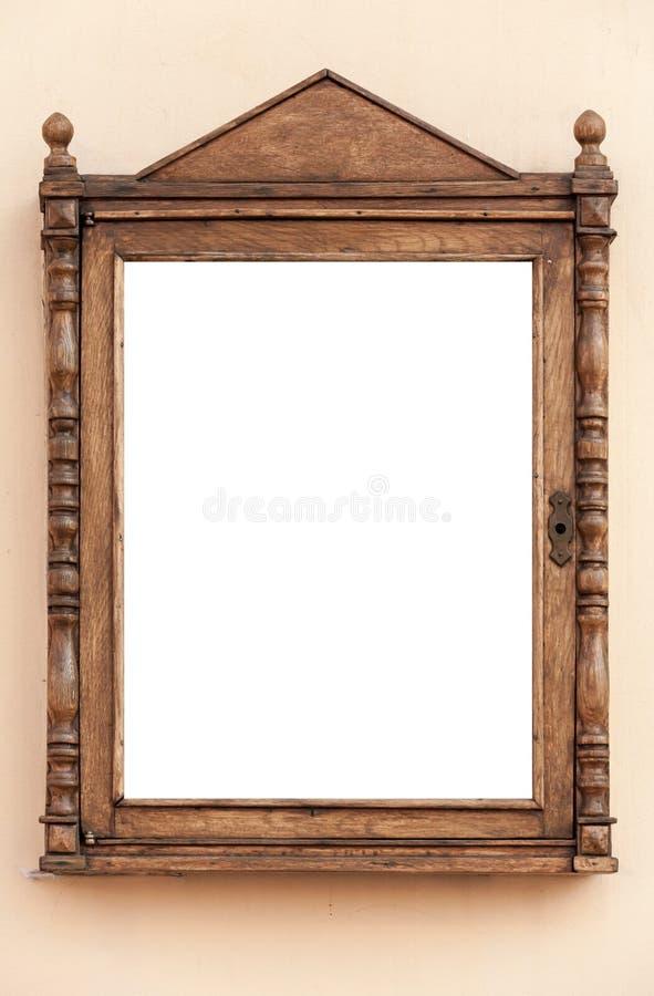 Struttura di legno vuota per la pubblicità, in bianco fotografie stock