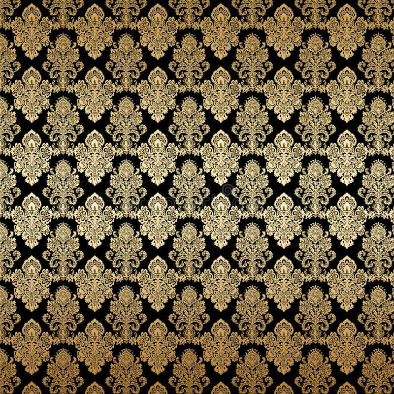 Struttura di lusso del fondo del damasco dell'oro illustrazione di stock