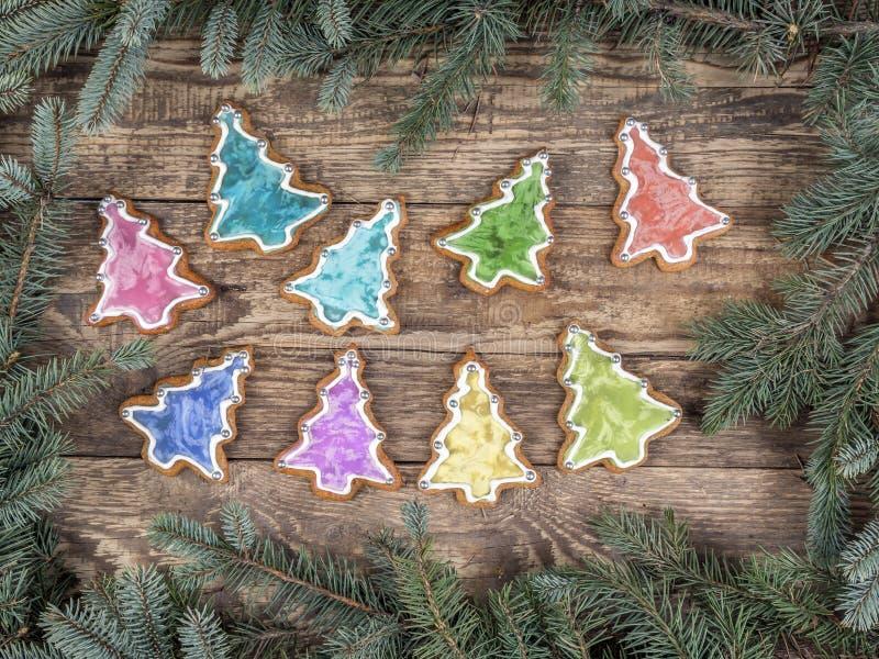 Struttura di Natale con i biscotti del pan di zenzero immagine stock