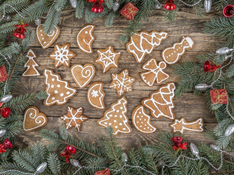 Struttura di Natale con i biscotti del pan di zenzero fotografie stock
