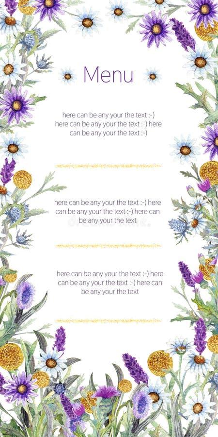 Struttura di nozze dei fiori selvaggi watercolor disposizione dei fiori Progettazione del modello della cartolina d'auguri Priori illustrazione di stock