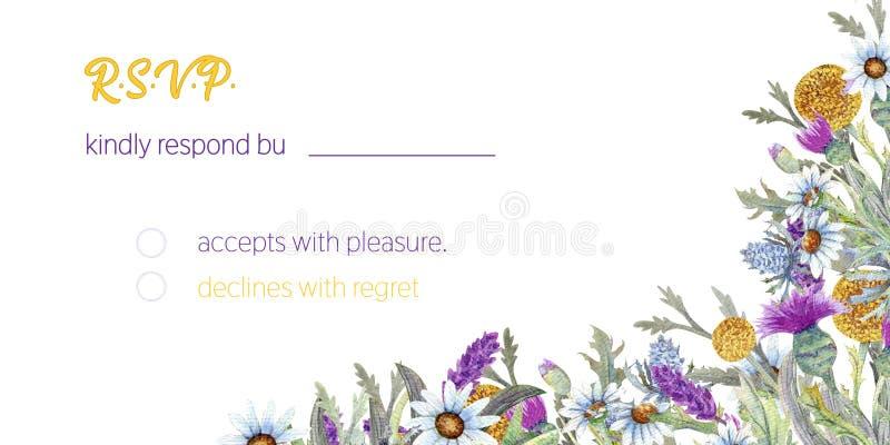 Struttura di nozze dei fiori selvaggi watercolor disposizione dei fiori Progettazione del modello della cartolina d'auguri Priori royalty illustrazione gratis