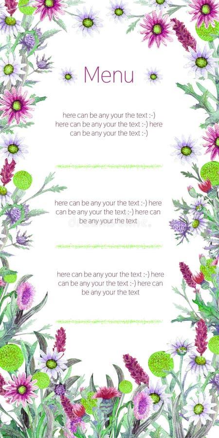 Struttura di nozze dei fiori selvaggi watercolor disposizione dei fiori Progettazione del modello della cartolina d'auguri Priori illustrazione vettoriale