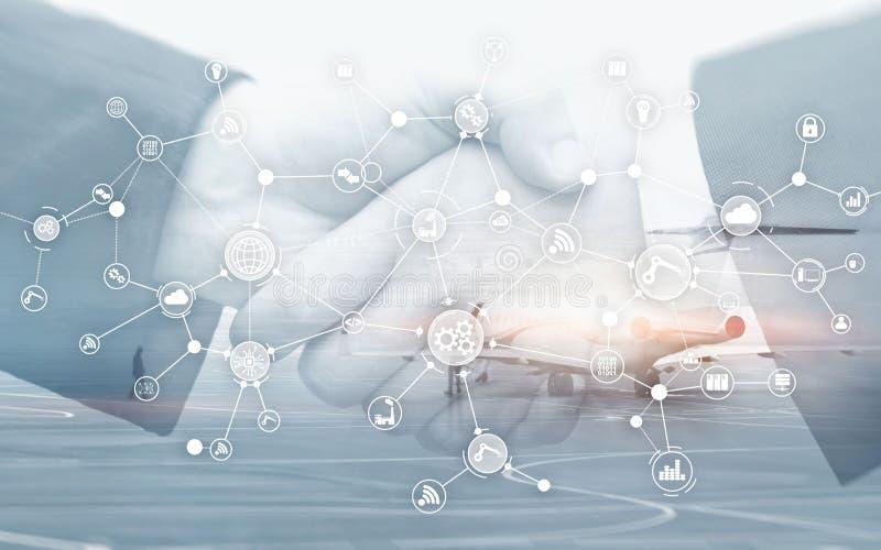 Struttura di organizzazione industriale di flusso di lavoro di processo aziendale sullo schermo virtuale Concetto astuto di indus fotografia stock