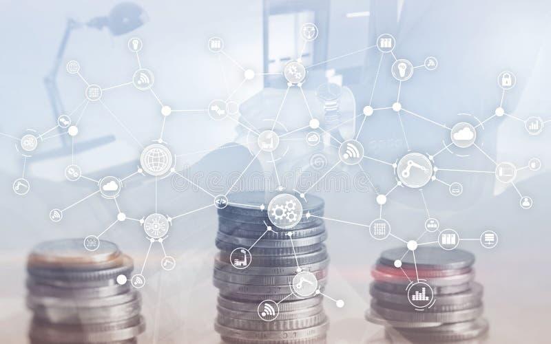 Struttura di organizzazione industriale di flusso di lavoro di processo aziendale sullo schermo virtuale Concetto astuto di indus immagine stock libera da diritti