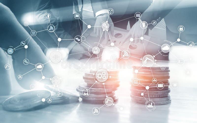 Struttura di organizzazione industriale di flusso di lavoro di processo aziendale sullo schermo virtuale Concetto astuto di indus royalty illustrazione gratis