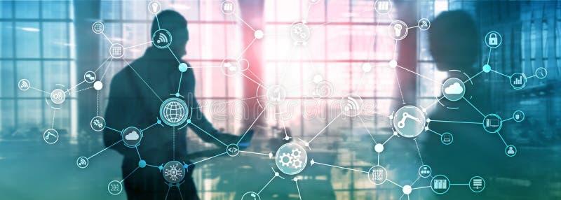 Struttura di organizzazione industriale di flusso di lavoro di processo aziendale di tecnologia sullo schermo virtuale Concetto a royalty illustrazione gratis