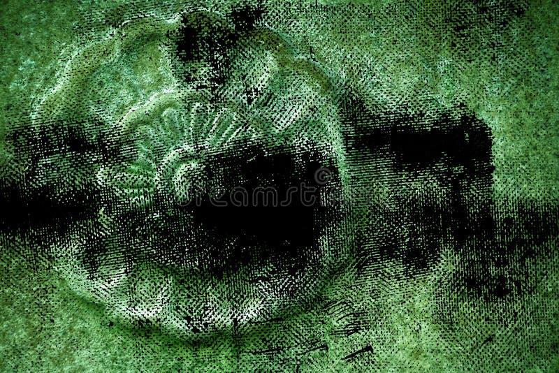 Struttura di pietra decorata ultra verde sporca di lerciume, forma della roccia del cerchio, fondo per il sito Web o dispositivi  immagine stock libera da diritti
