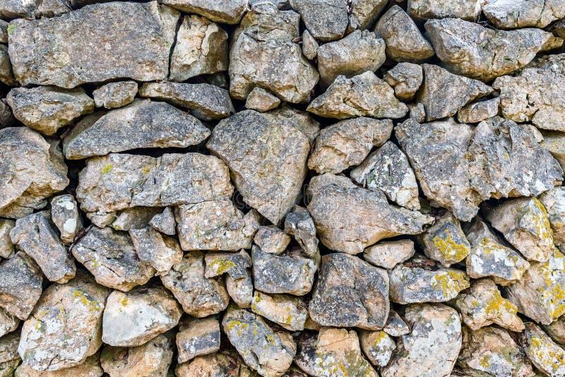 Struttura di pietra del recinto della roccia o della parete del gabbione immagini stock libere da diritti