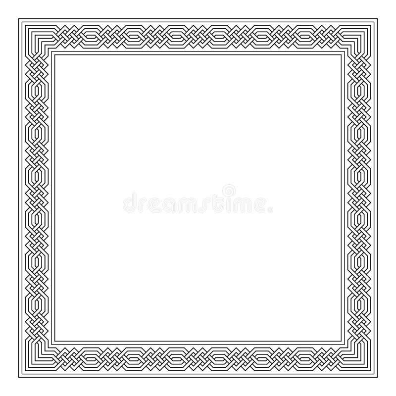 Struttura di rettangolo con il modello islamico senza cuciture motivo ripetuto antico meandros di vettore confine decorativo nero royalty illustrazione gratis