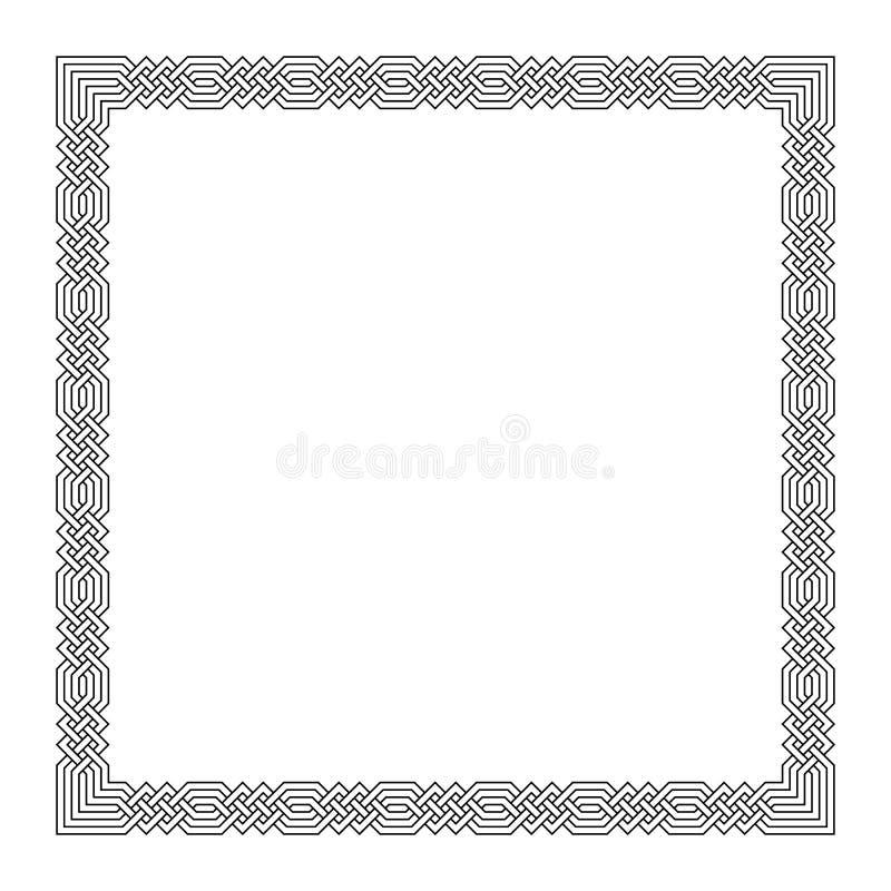 Struttura di rettangolo con il modello islamico senza cuciture motivo ripetuto antico meandros di vettore un confine decorativo c illustrazione vettoriale